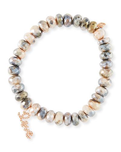 Moonstone Bead Bracelet w/ Rose Love Script Charm