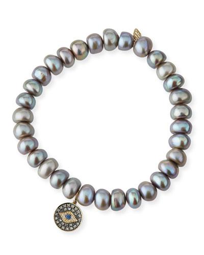 Gray Pearl Bead Bracelet w/ 14k Evil Eye Charm