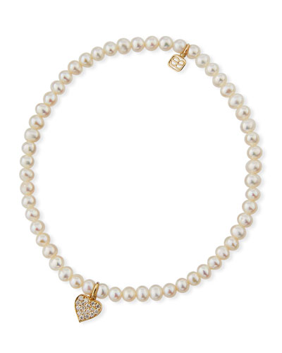 Quick Look Sydney Evan 14k Pearl Diamond Heart Bracelet