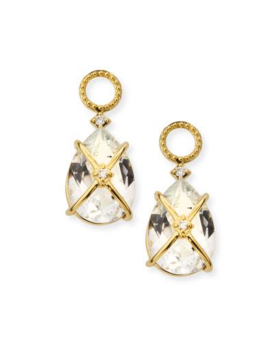 18k Lisse Tiny Criss Cross Earring Charms, White Topaz