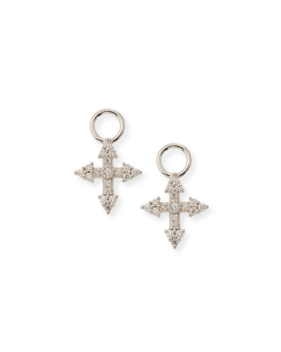18k Provence Tiny Cross Diamond Earring Charms