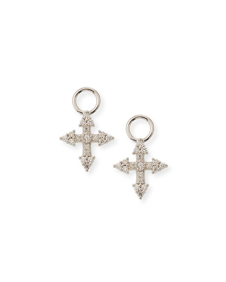 Jude Frances 18k Provence Tiny Cross Diamond Earring Charms