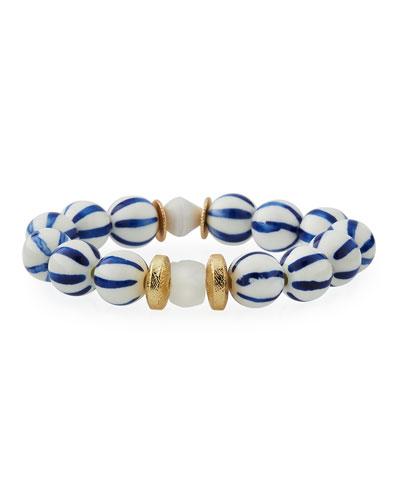 Neiman Marcus Watch Out Stretch Bracelet, Black/White