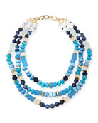 Triple-Strand Blue Beaded Necklace