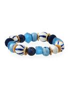 Mixed Blue & Striped Stretch Bracelet
