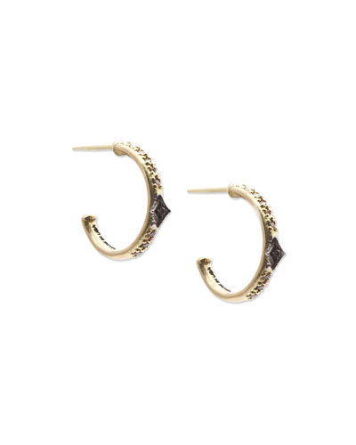 18k Old World Mini Diamond Huggie Hoop Earrings