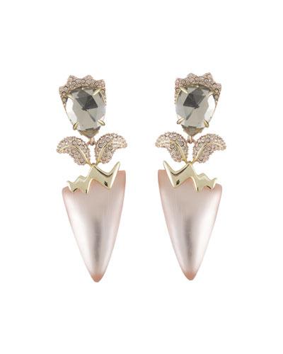 Crystal Encrusted Tulip Clip-On Earrings