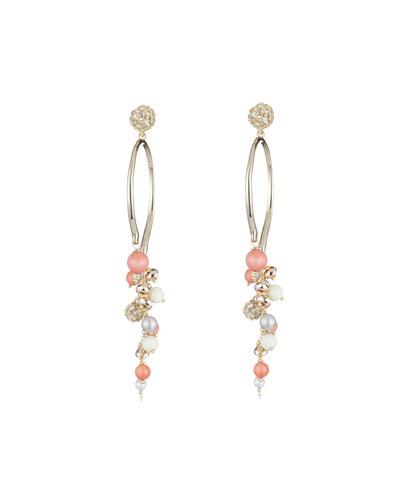Crystal Encrusted Beaded Arc Cluster Earrings