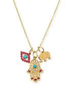 14k Evil Eye, Hamsa & Elephant Trio Pendant Necklace