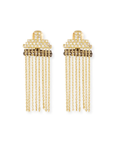 Old World Petite Stacked Bar Chain Earrings w/ Diamond Pave