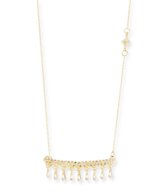 Old World 18k Gold Bar Pendant Necklace w/ Dangles