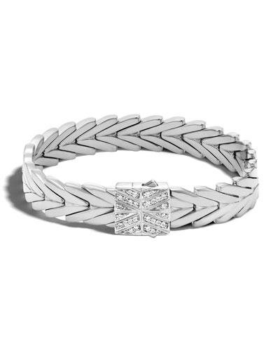 Modern Chain Medium Bracelet with Diamond Pave Clasp