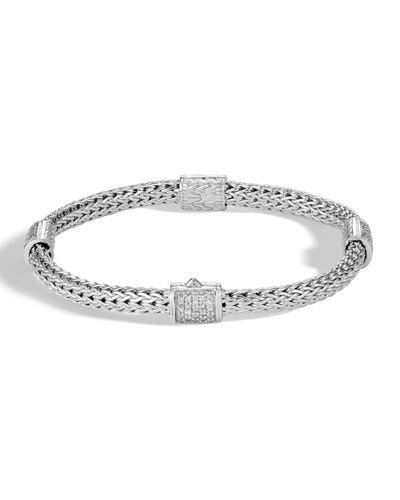 Quick Look John Hardy Clic Chain Pave Diamond Four Station Bracelet