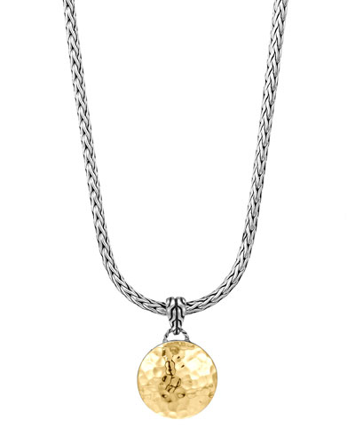 Dot Hammered Gold & Silver Pendant Necklace
