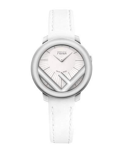 28mm Run Away Watch with Leather Strap, White