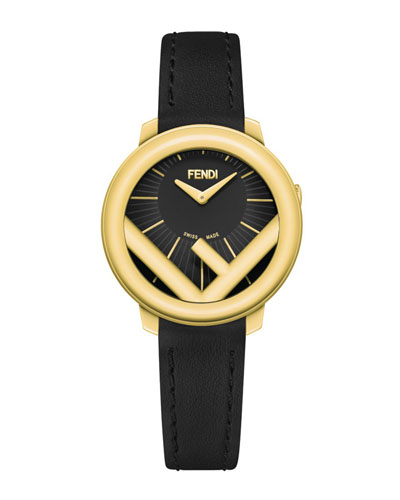 28mm Run Away Watch with Leather Strap, Black