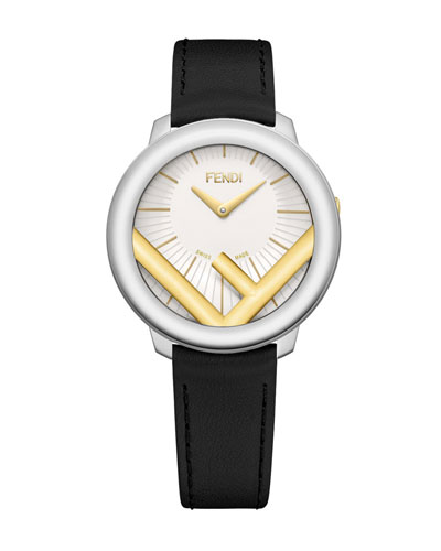 36mm Run Away Watch with Leather Strap, Black/Golden