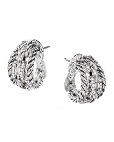 Wellesley Link Huggie Hoop Earrings w/ Diamonds