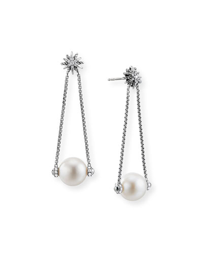 Starburst Diamond & Pearl Drop Earrings