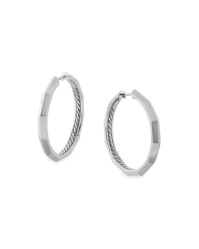 Stax Faceted Silver Hoop Earrings