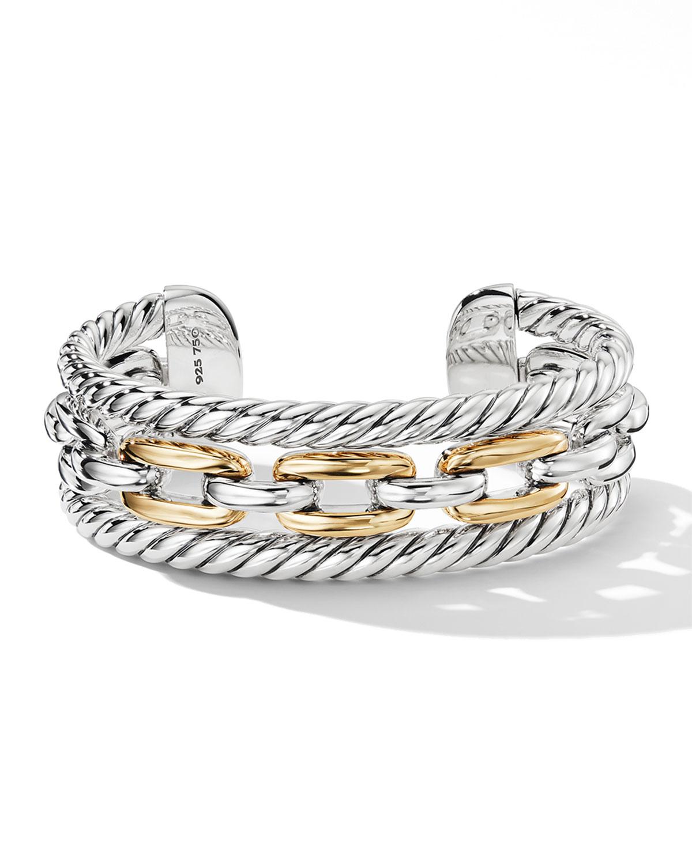 DAVID YURMAN WELLESLEY LINK MULTI STACK BRACELET IN STERLING SILVER WITH 18K YELLOW GOLD