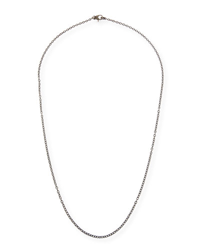 Rhodium-Plated Sterling Silver Chain Necklace with Diamond Clasp, 36