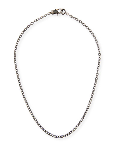 Rhodium-Plated Sterling Silver Chain Necklace with Spinel Clasp, 18