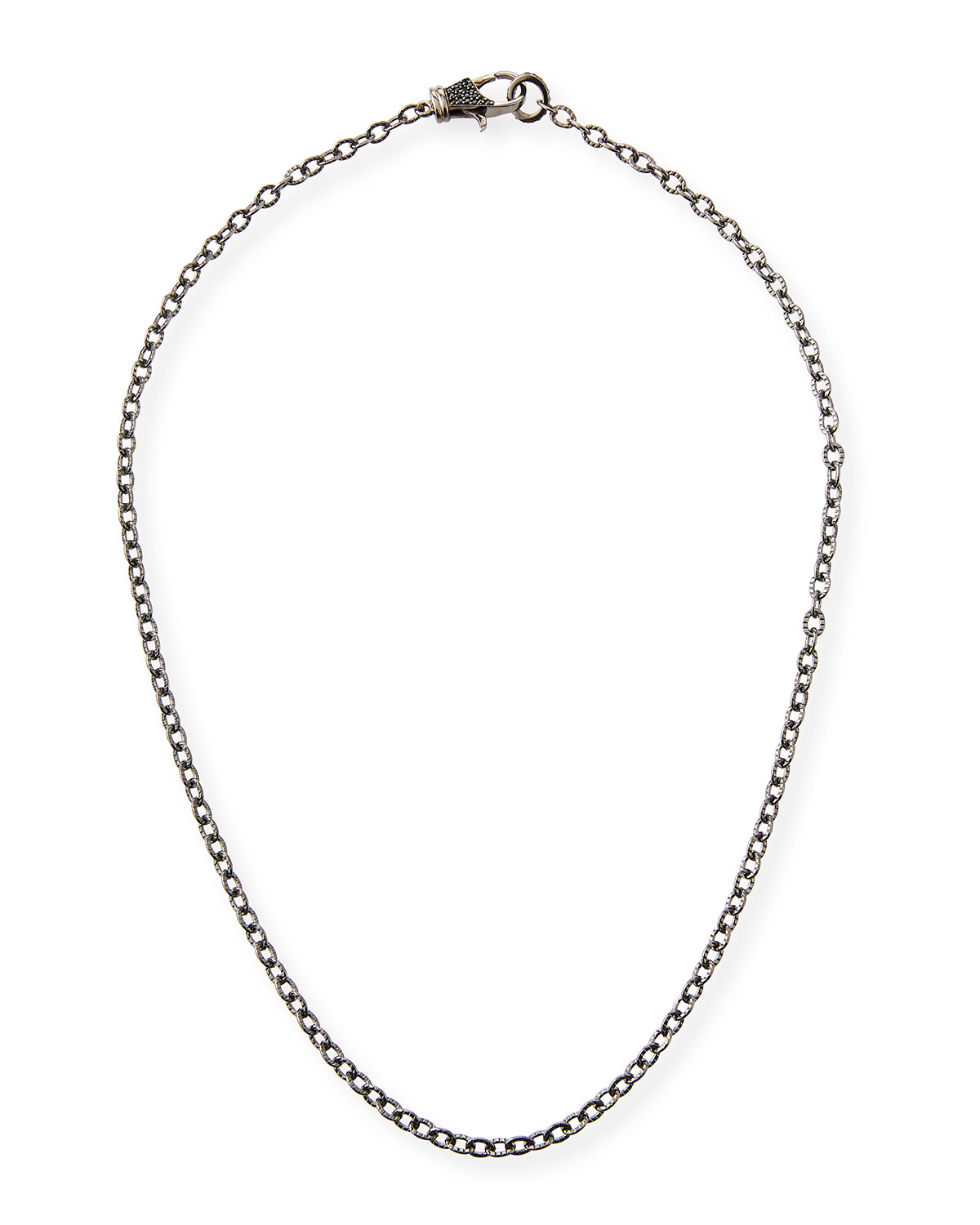 Rhodium-Plated Sterling Silver Chain Necklace with Spinel Clasp