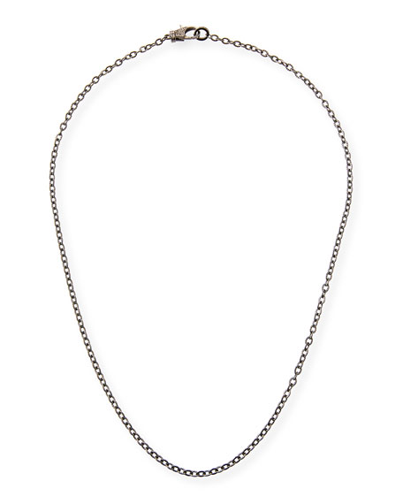 Margo Morrison Rhodium-Plated Sterling Silver Chain Necklace with Diamond Clasp, 24""