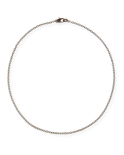 Rhodium-Plated Sterling Silver Chain Necklace with Spinel Clasp, 24