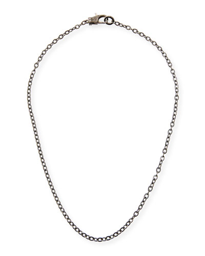 Rhodium-Plated Sterling Silver Chain Necklace with Diamond Clasp, 18