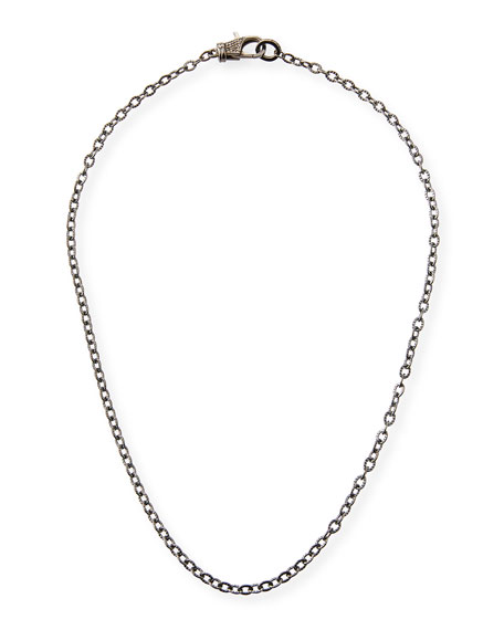 """Margo Morrison Rhodium-Plated Sterling Silver Chain Necklace with Diamond Clasp, 18"""""""