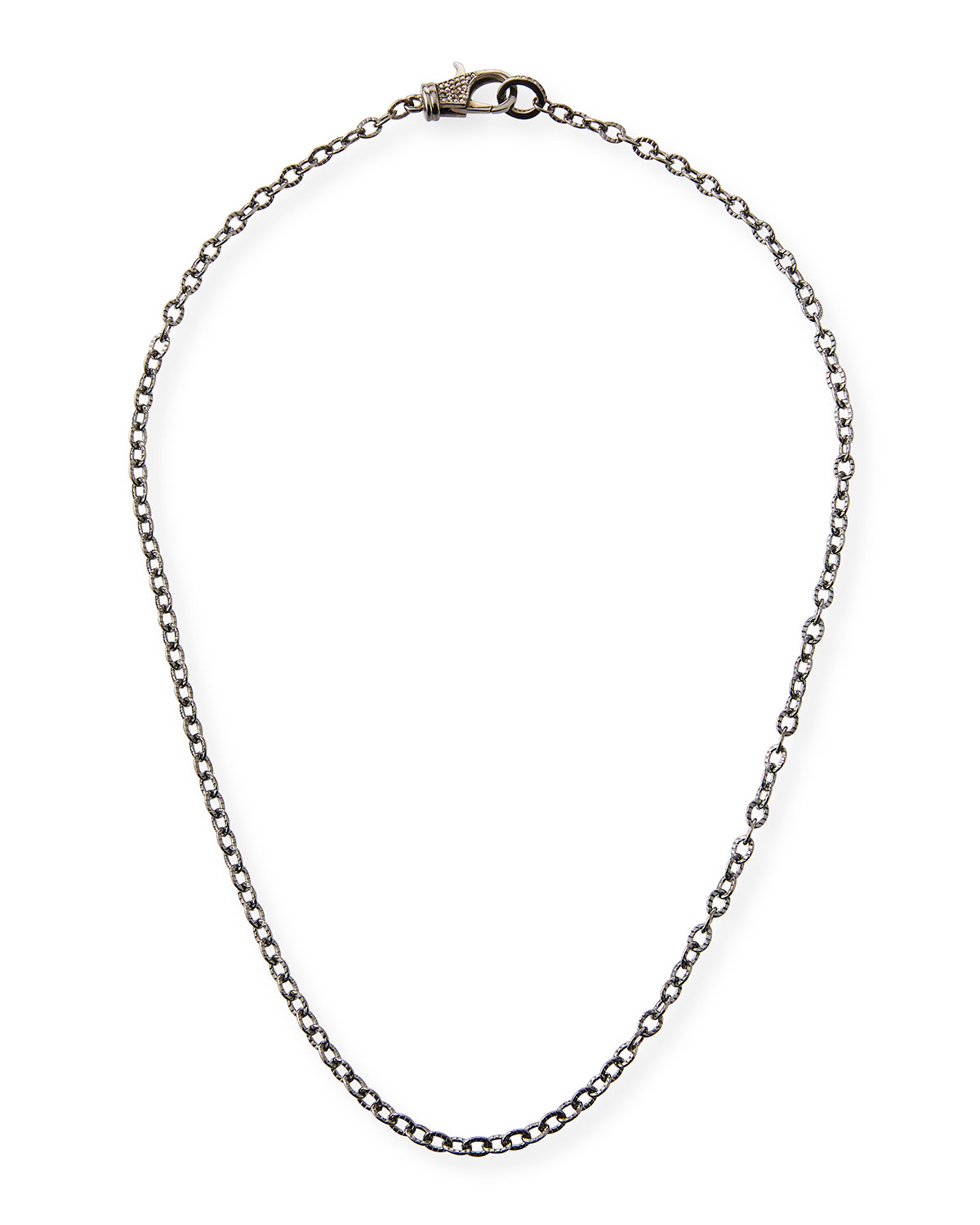 Rhodium-Plated Sterling Silver Chain Necklace with Diamond Clasp