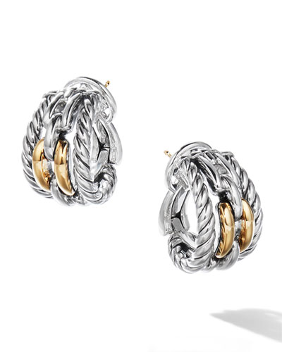 Wellesley Link Hoop Earrings w/ 18k Gold