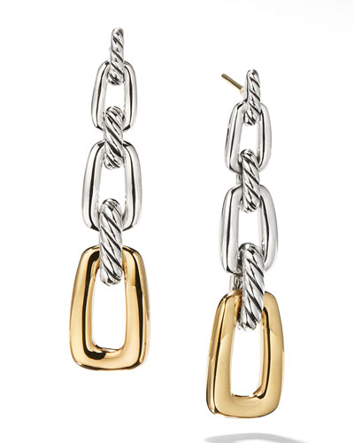 Wellesley Silver 3-Link Drop Earrings w/ 18k Gold