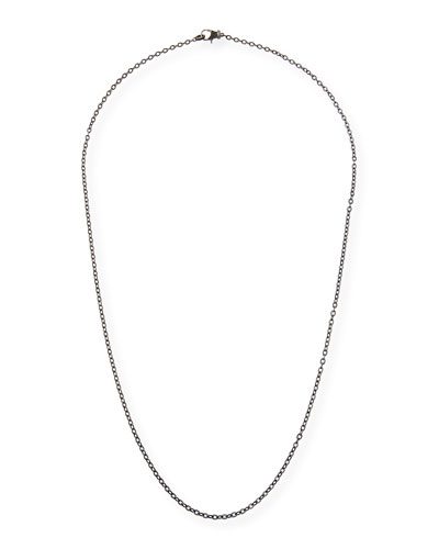 Rhodium-Plated Sterling Silver Chain Necklace with Spinel Clasp, 36