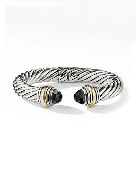 David Yurman Cable Classics Silver Kick Cuff Bracelet w/ 14k Gold & Black Onyx