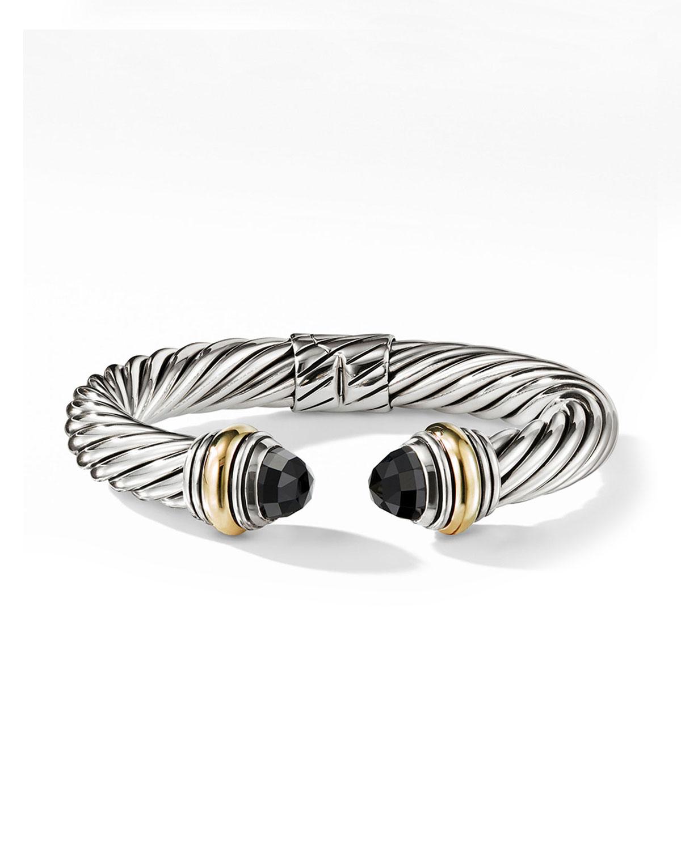 Cable Classics Silver Kick Cuff Bracelet w/ 14k Gold & Black Onyx