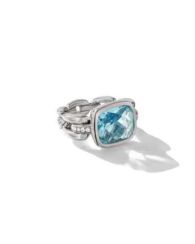 Wellesley Silver Color Ring w/ Sky Blue Topaz