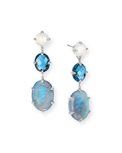 Chatelaine Triple Drop Earrings, Labradorite