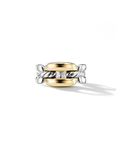Wellesley Medium Silver Link Ring w/ 18k Gold