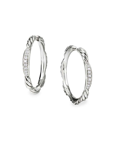 Tides Diamond & Cable Hoop Earrings