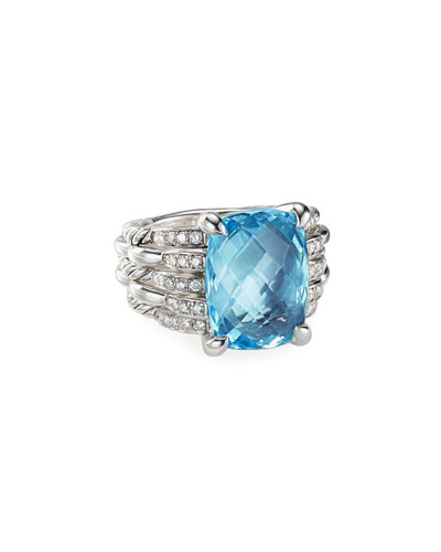 Tides Diamond & Blue Topaz Ring