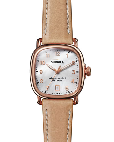 36mm The Guardian Rose Golden Date Watch with Leather Strap