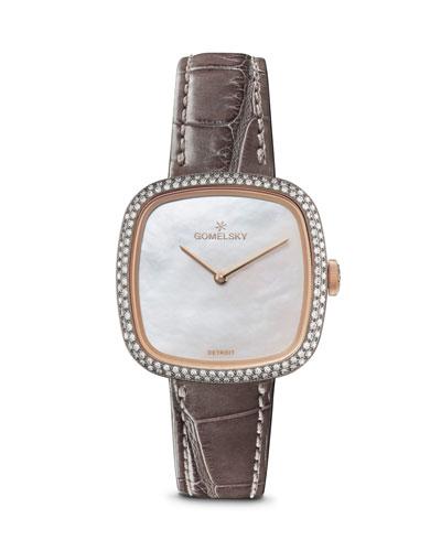 32mm Eppie Diamond Watch w/ Gray Alligator Strap