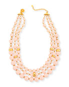 Three-Strand Blush Glass Necklace