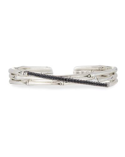 Bamboo Silver Small Flex Cuff Bracelet w/ Black Pave