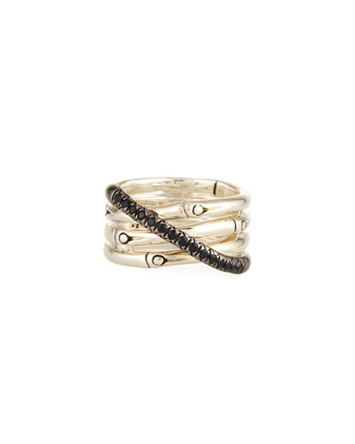Bamboo Silver Band Ring w/ Black Pave