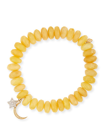 10mm Yellow Opal Beaded Bracelet with Diamond Moon & Star Charms