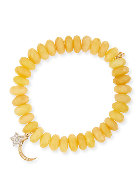 Sydney Evan 10mm Yellow Opal Beaded Bracelet with Diamond Moon & Star Charms